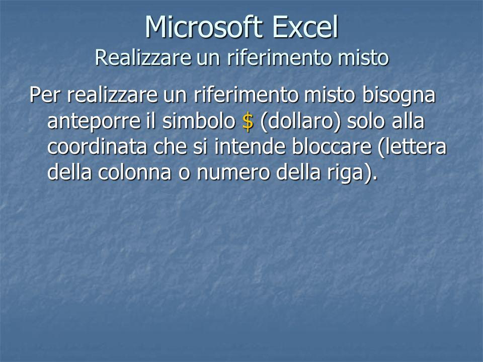 Microsoft Excel Realizzare un riferimento misto Per realizzare un riferimento misto bisogna anteporre il simbolo $ (dollaro) solo alla coordinata che