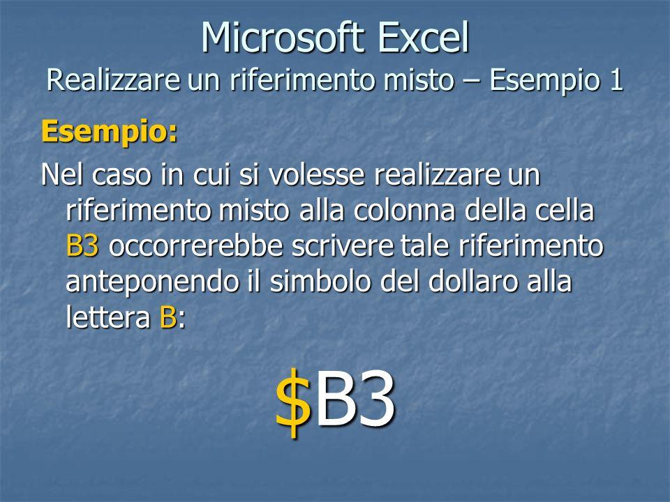 Microsoft Excel Realizzare un riferimento misto – Esempio 1 Esempio: Nel caso in cui si volesse realizzare un riferimento misto alla colonna della cel