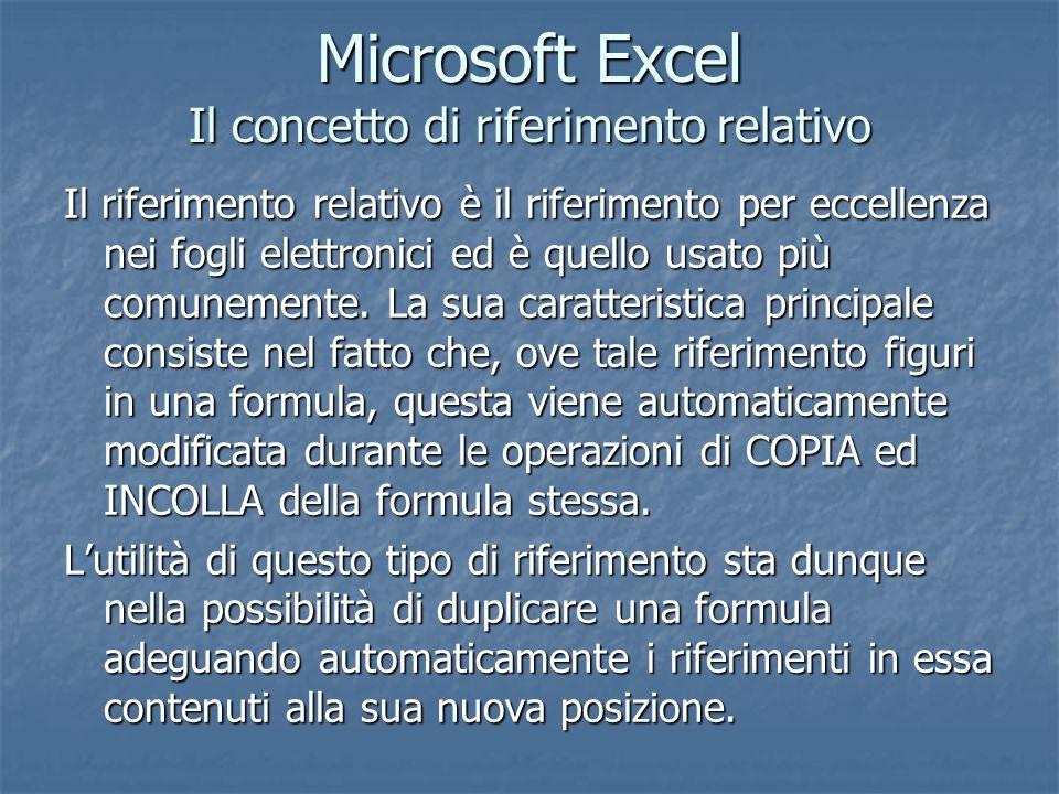Microsoft Excel Il concetto di riferimento relativo Il riferimento relativo è il riferimento per eccellenza nei fogli elettronici ed è quello usato pi