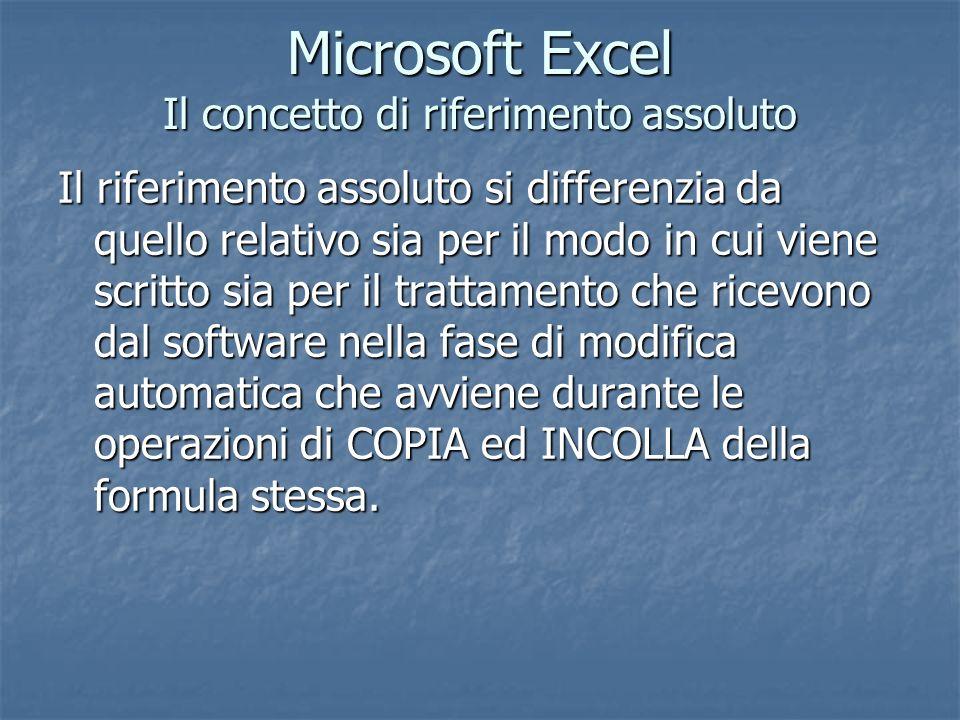 Microsoft Excel Il concetto di riferimento assoluto Il riferimento assoluto si differenzia da quello relativo sia per il modo in cui viene scritto sia