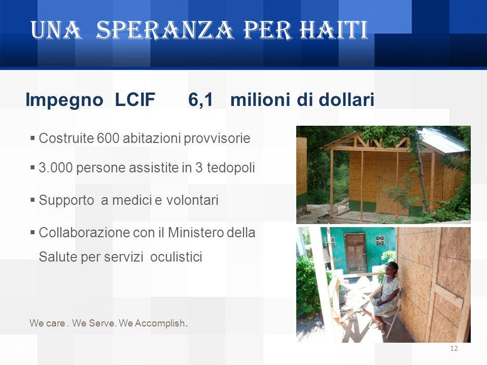 UNA SPERANZA PER HAITI 12 Impegno LCIF 6,1 milioni di dollari Costruite 600 abitazioni provvisorie 3.000 persone assistite in 3 tedopoli Supporto a me