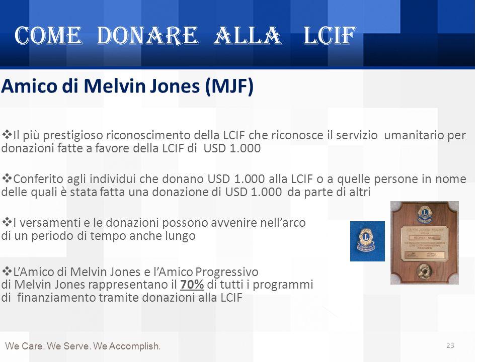 Come donare alla LCIF 23 Amico di Melvin Jones (MJF) Il più prestigioso riconoscimento della LCIF che riconosce il servizio umanitario per donazioni f