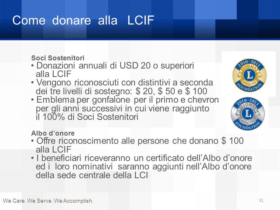 Come donare alla LCIF 31 Soci Sostenitori Donazioni annuali di USD 20 o superiori alla LCIF Vengono riconosciuti con distintivi a seconda dei tre live