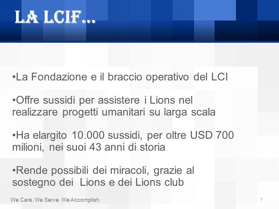 La LCIF… 7 We Care. We Serve. We Accomplish. La Fondazione e il braccio operativo del LCI Offre sussidi per assistere i Lions nel realizzare progetti
