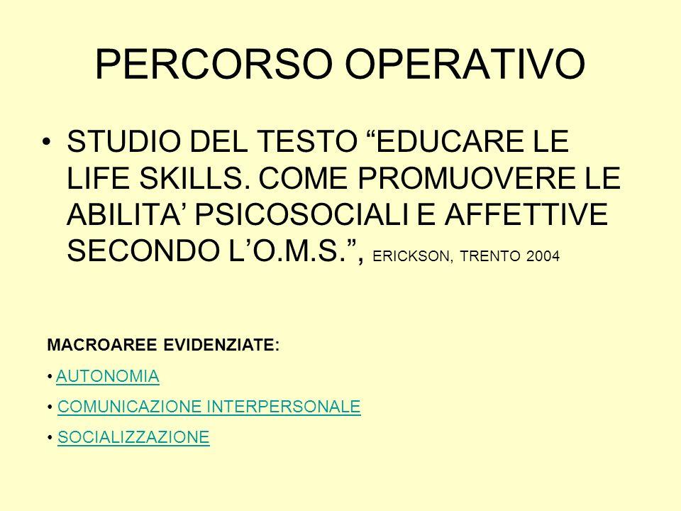 PERCORSO OPERATIVO STUDIO DEL TESTO EDUCARE LE LIFE SKILLS. COME PROMUOVERE LE ABILITA PSICOSOCIALI E AFFETTIVE SECONDO LO.M.S., ERICKSON, TRENTO 2004