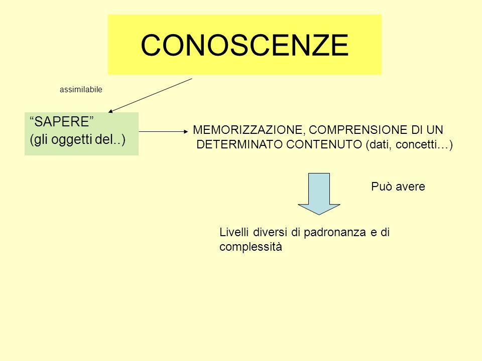 CONOSCENZE SAPERE (gli oggetti del..) MEMORIZZAZIONE, COMPRENSIONE DI UN DETERMINATO CONTENUTO (dati, concetti…) Livelli diversi di padronanza e di co