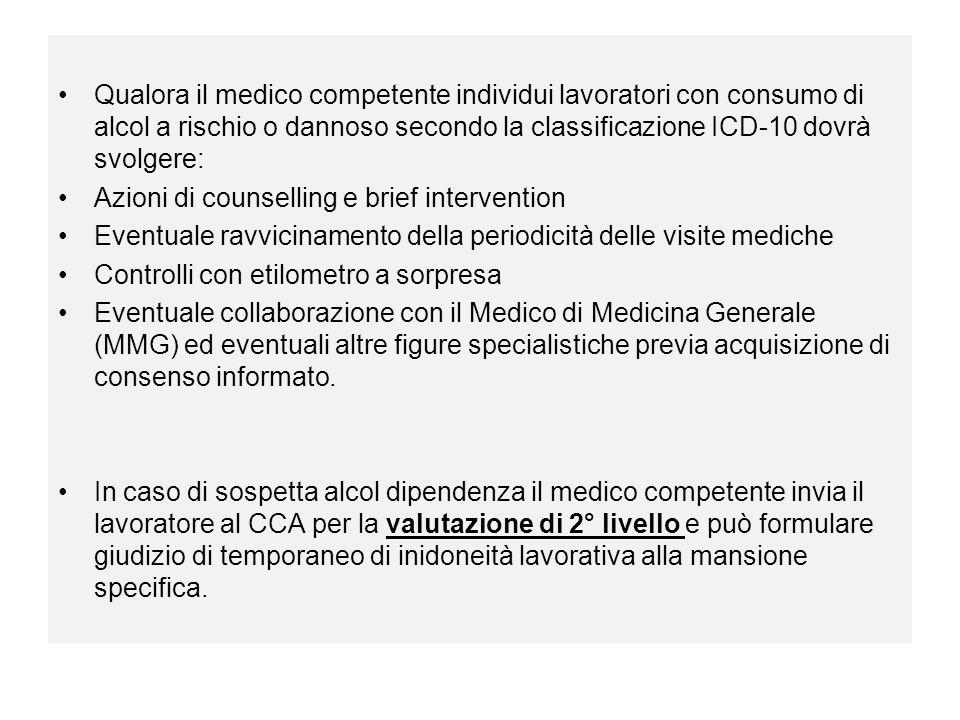 Qualora il medico competente individui lavoratori con consumo di alcol a rischio o dannoso secondo la classificazione ICD-10 dovrà svolgere: Azioni di