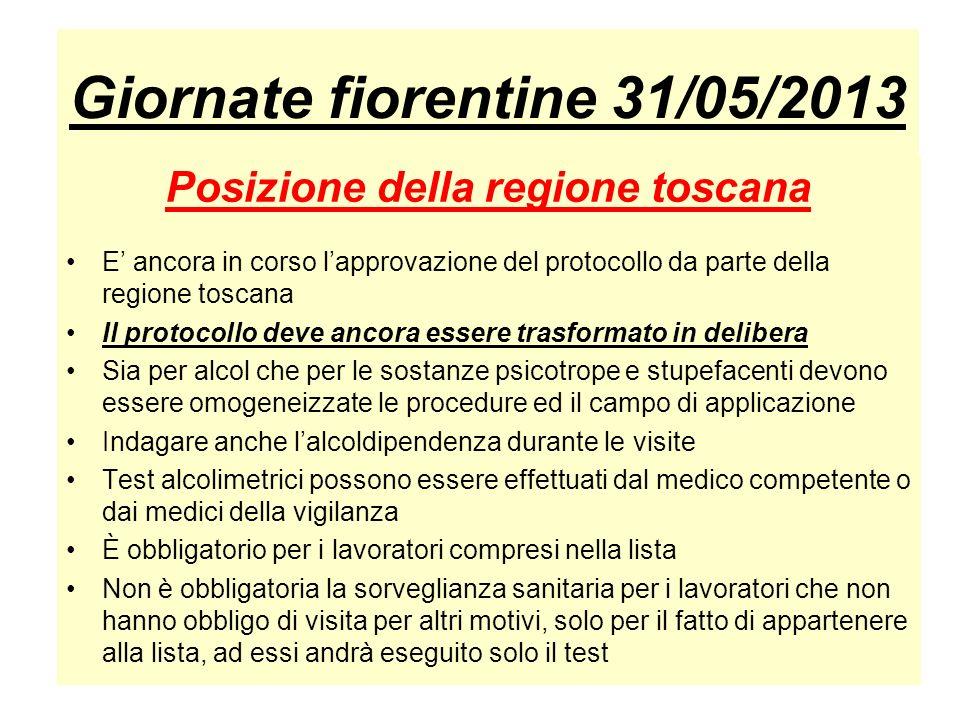 Giornate fiorentine 31/05/2013 Posizione della regione toscana E ancora in corso lapprovazione del protocollo da parte della regione toscana Il protoc