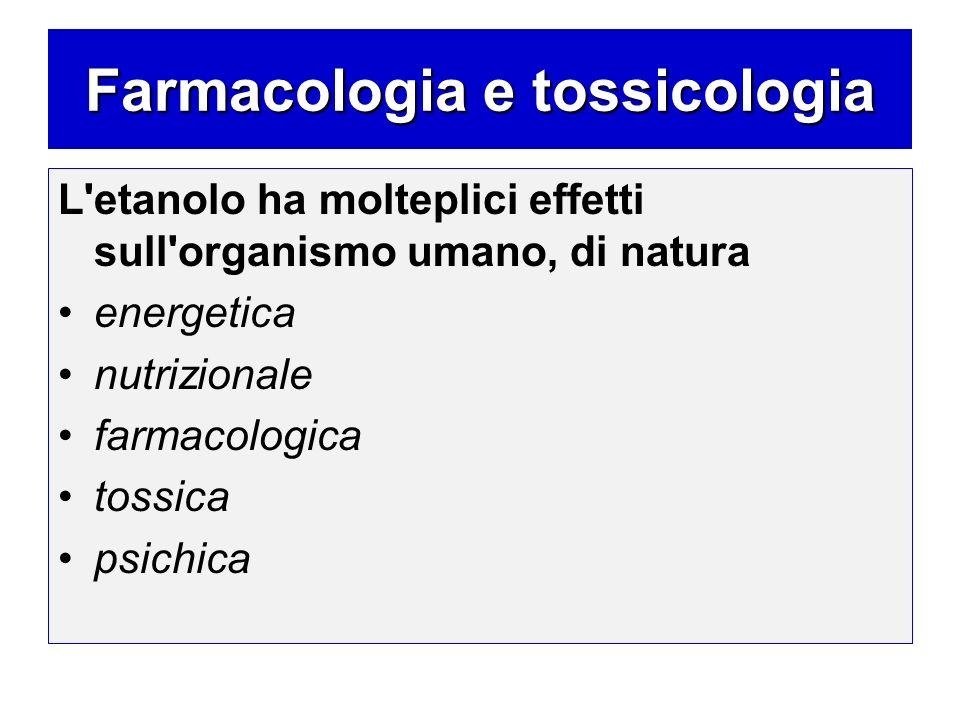 Farmacologia e tossicologia L'etanolo ha molteplici effetti sull'organismo umano, di natura energetica nutrizionale farmacologica tossica psichica