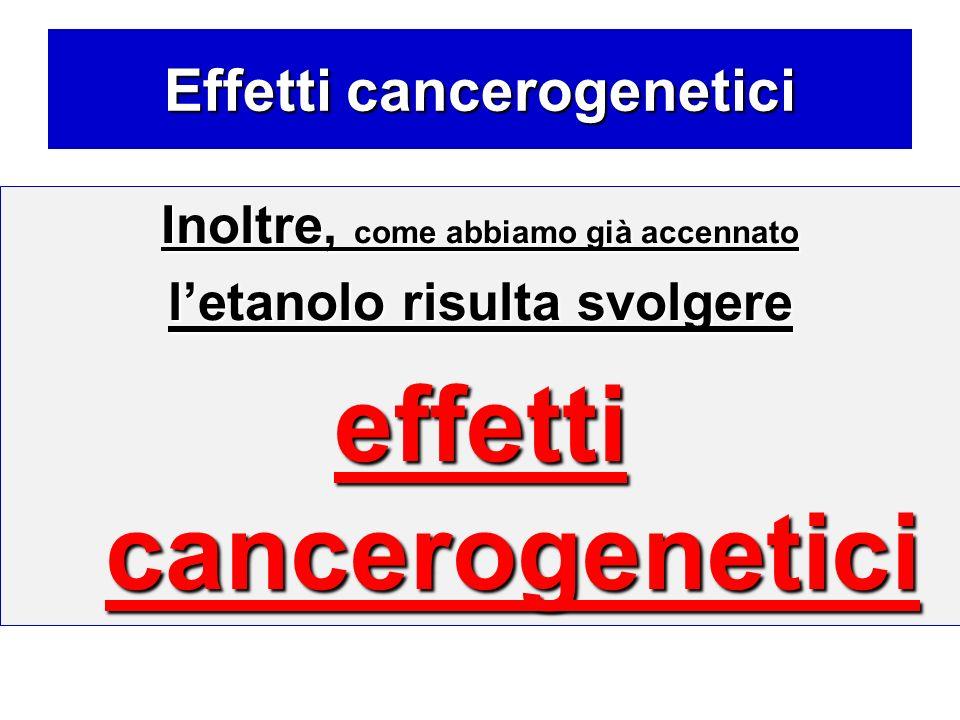 Effetti cancerogenetici Inoltre, come abbiamo già accennato letanolo risulta svolgere effetti cancerogenetici