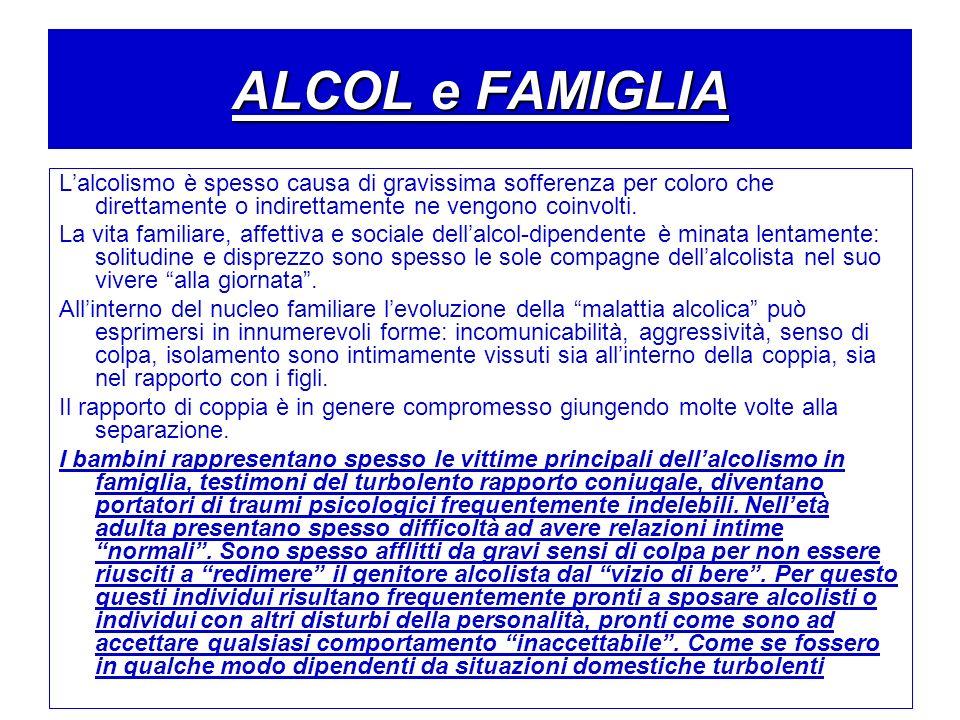 ALCOL e FAMIGLIA Lalcolismo è spesso causa di gravissima sofferenza per coloro che direttamente o indirettamente ne vengono coinvolti. La vita familia