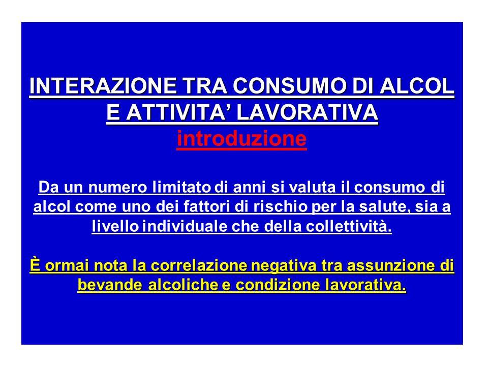 INTERAZIONE TRA CONSUMO DI ALCOL E ATTIVITA LAVORATIVA È ormai nota la correlazione negativa tra assunzione di bevande alcoliche e condizione lavorati