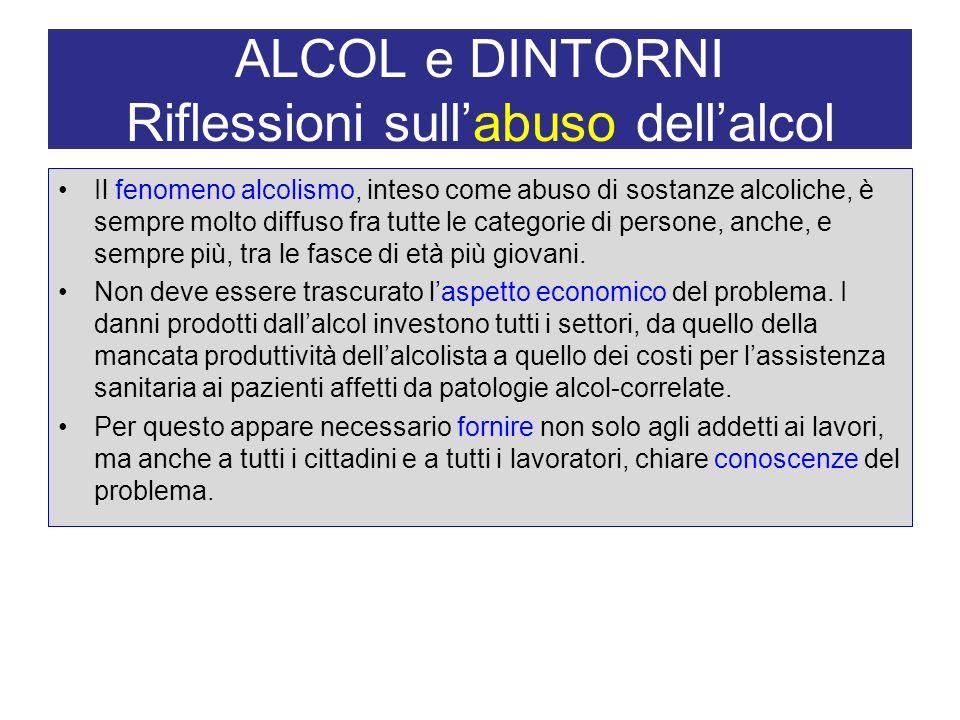 ALCOL e DINTORNI Riflessioni sullabuso dellalcol Il fenomeno alcolismo, inteso come abuso di sostanze alcoliche, è sempre molto diffuso fra tutte le c