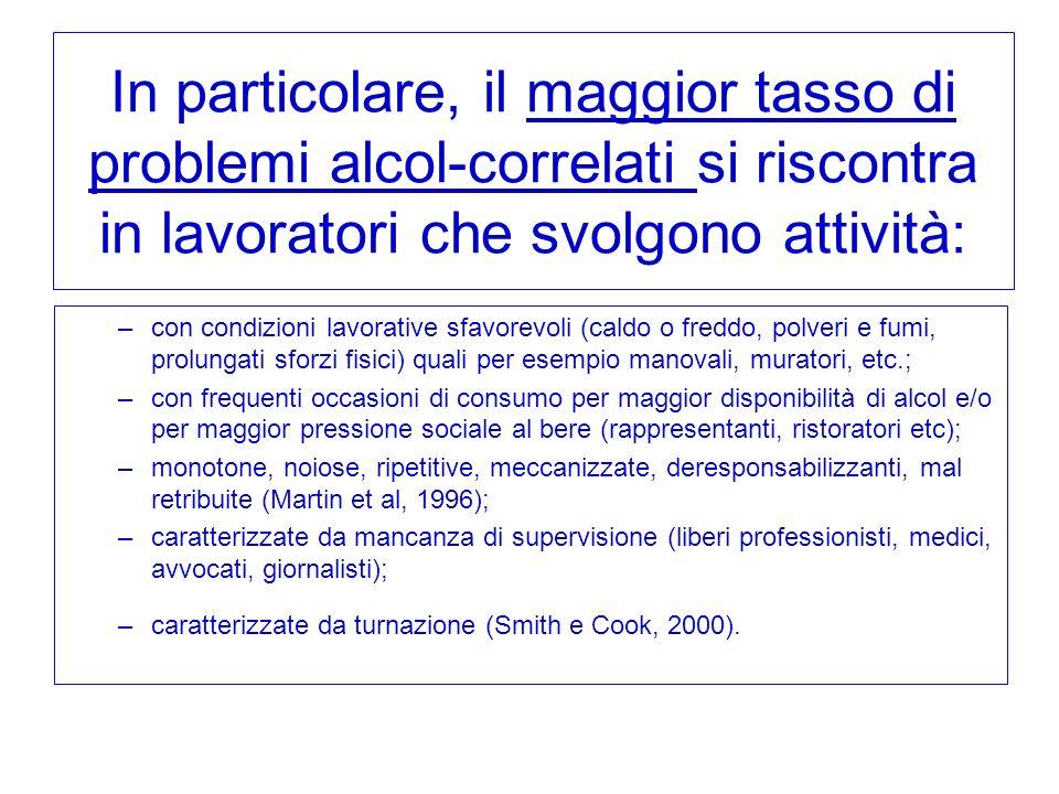 In particolare, il maggior tasso di problemi alcol-correlati si riscontra in lavoratori che svolgono attività: –con condizioni lavorative sfavorevoli