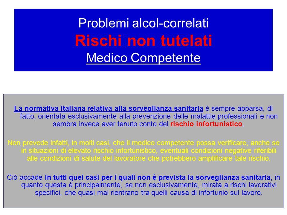 Problemi alcol-correlati Rischi non tutelati Medico Competente La normativa italiana relativa alla sorveglianza sanitaria è sempre apparsa, di fatto,