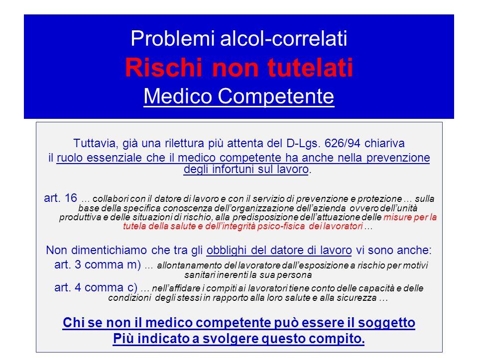Problemi alcol-correlati – Rischi non tutelati Medico Competente Tuttavia, già una rilettura più attenta del D-Lgs. 626/94 chiariva il ruolo essenzial