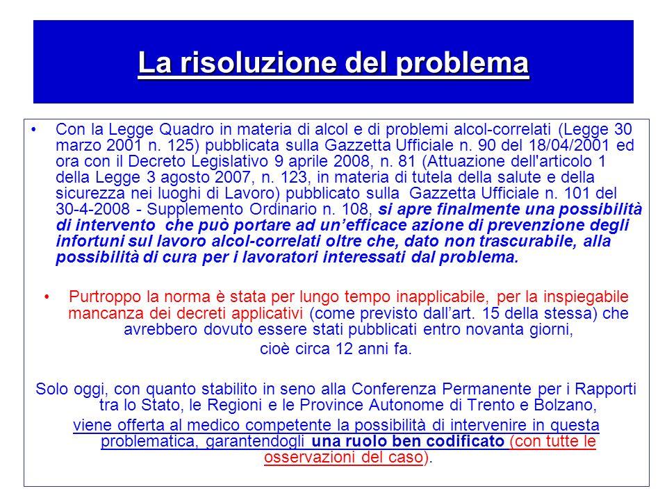 La risoluzione del problema Con la Legge Quadro in materia di alcol e di problemi alcol-correlati (Legge 30 marzo 2001 n. 125) pubblicata sulla Gazzet