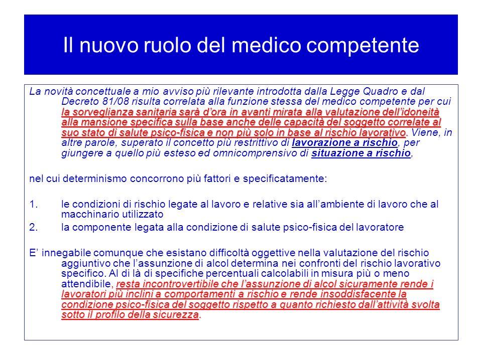 Il nuovo ruolo del medico competente la sorveglianza sanitaria sarà dora in avanti mirata alla valutazione dellidoneità alla mansione specifica sulla