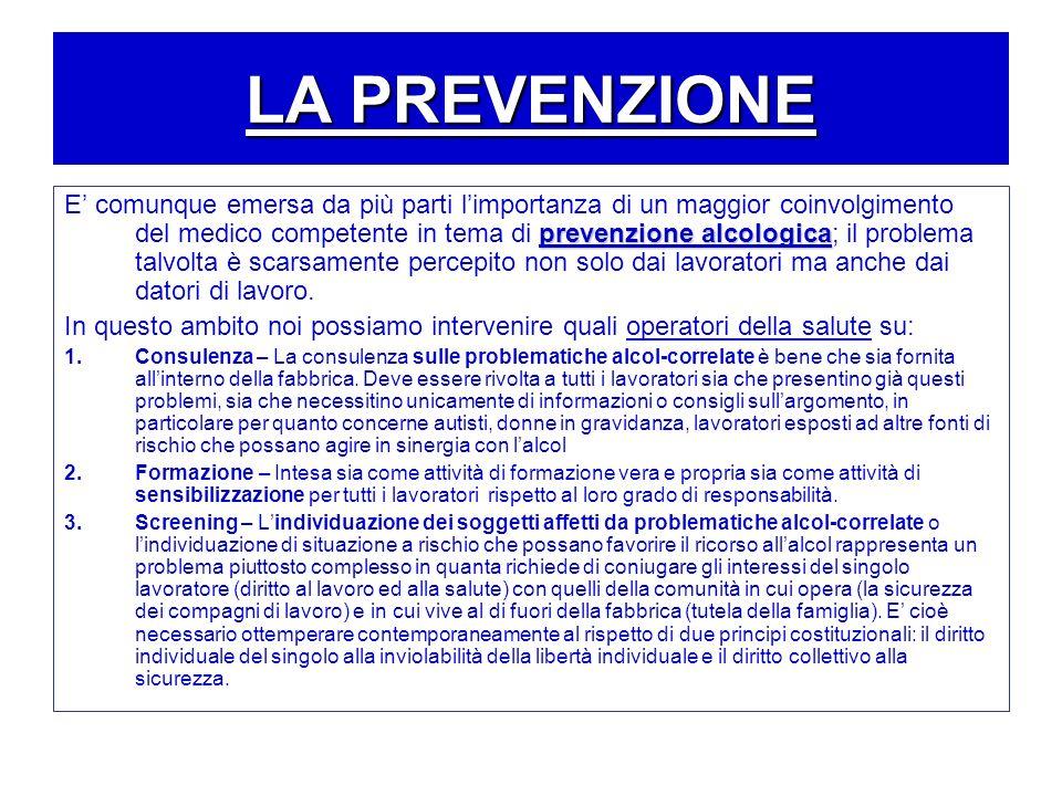 LA PREVENZIONE prevenzione alcologica E comunque emersa da più parti limportanza di un maggior coinvolgimento del medico competente in tema di prevenz