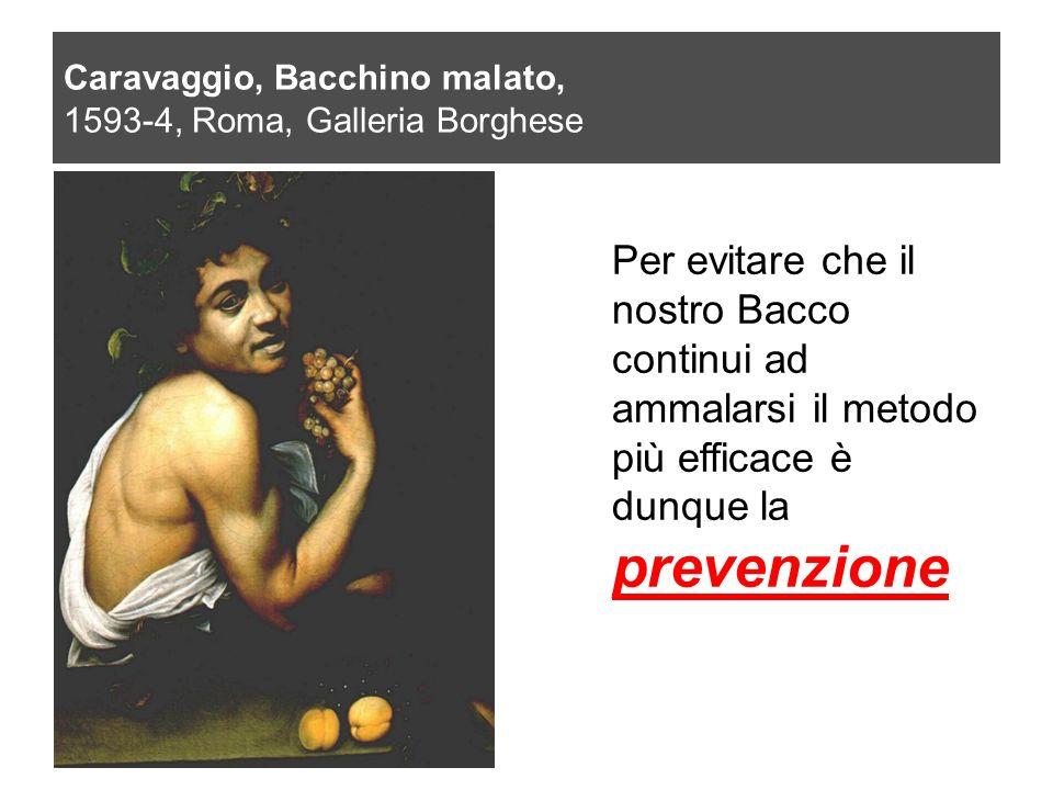 Caravaggio, Bacchino malato, 1593-4, Roma, Galleria Borghese Per evitare che il nostro Bacco continui ad ammalarsi il metodo più efficace è dunque la