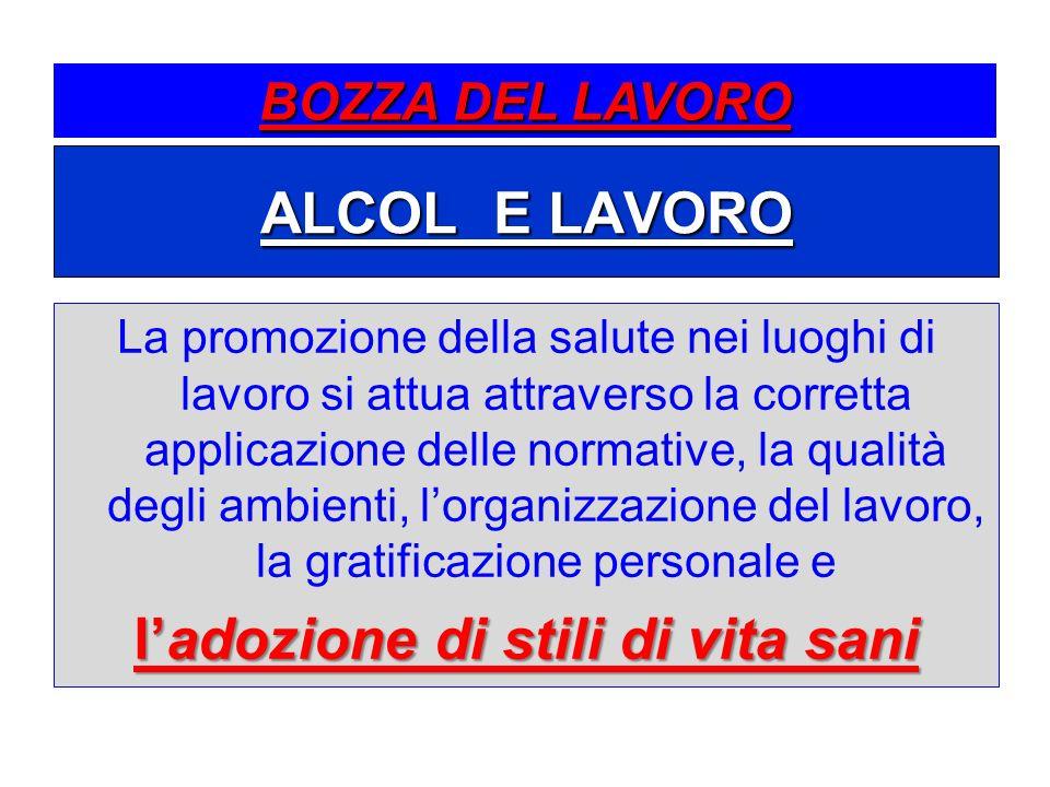 ALCOL E LAVORO La promozione della salute nei luoghi di lavoro si attua attraverso la corretta applicazione delle normative, la qualità degli ambienti