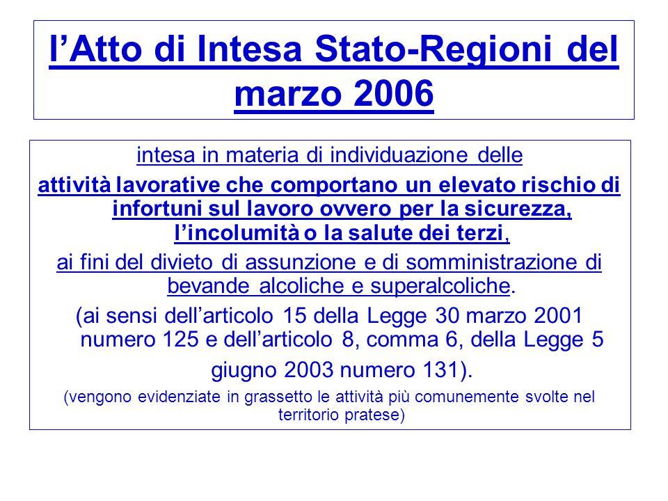 lAtto di Intesa Stato-Regioni del marzo 2006 intesa in materia di individuazione delle attività lavorative che comportano un elevato rischio di infort