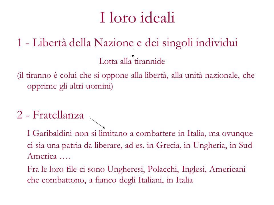I loro ideali 1 - Libertà della Nazione e dei singoli individui Lotta alla tirannide (il tiranno è colui che si oppone alla libertà, alla unità nazion