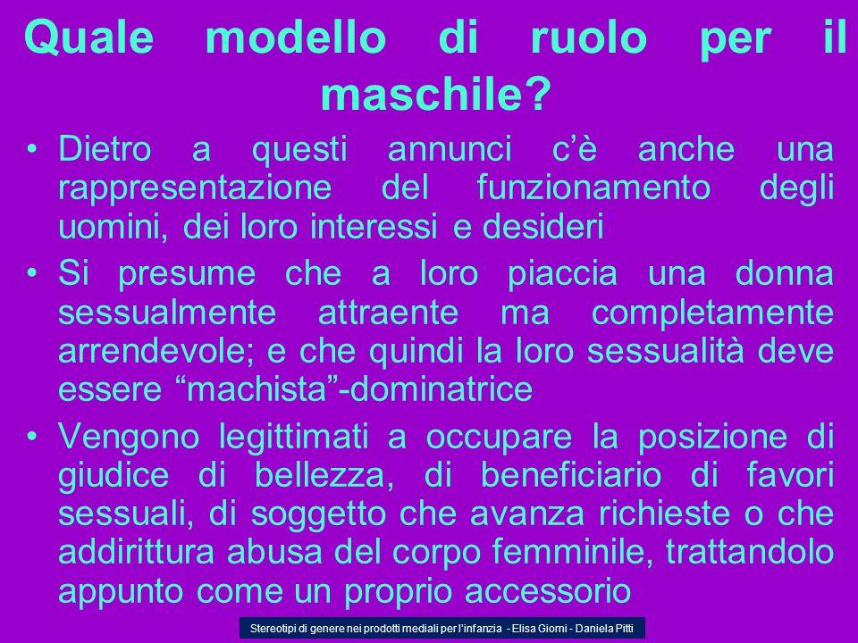Quale modello di ruolo per il maschile? Dietro a questi annunci cè anche una rappresentazione del funzionamento degli uomini, dei loro interessi e des