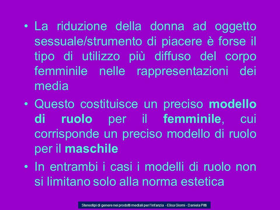 La riduzione della donna ad oggetto sessuale/strumento di piacere è forse il tipo di utilizzo più diffuso del corpo femminile nelle rappresentazioni d