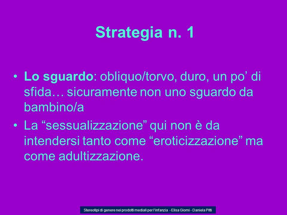 Strategia n. 1 Lo sguardo: obliquo/torvo, duro, un po di sfida… sicuramente non uno sguardo da bambino/a La sessualizzazione qui non è da intendersi t