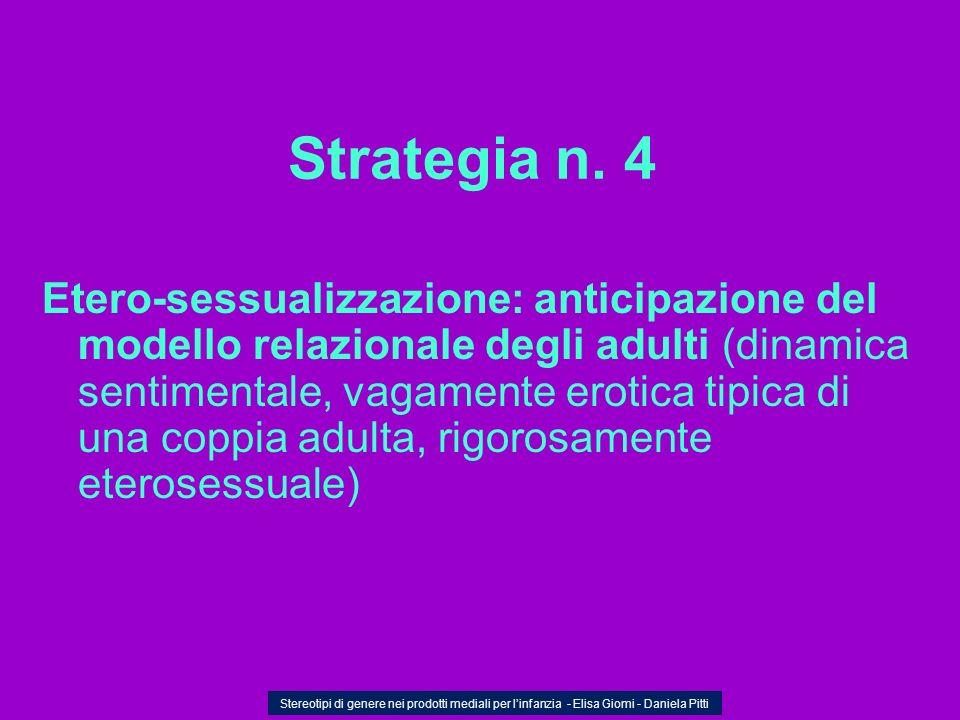 Strategia n. 4 Etero-sessualizzazione: anticipazione del modello relazionale degli adulti (dinamica sentimentale, vagamente erotica tipica di una copp