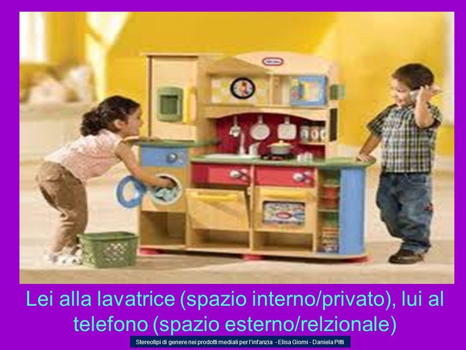Lei alla lavatrice (spazio interno/privato), lui al telefono (spazio esterno/relzionale) Stereotipi di genere nei prodotti mediali per linfanzia - Eli