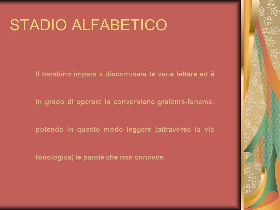STADIO ALFABETICO Il bambino impara a discriminare le varie lettere ed è in grado di operare la conversione grafema-fonema, potendo in questo modo leg