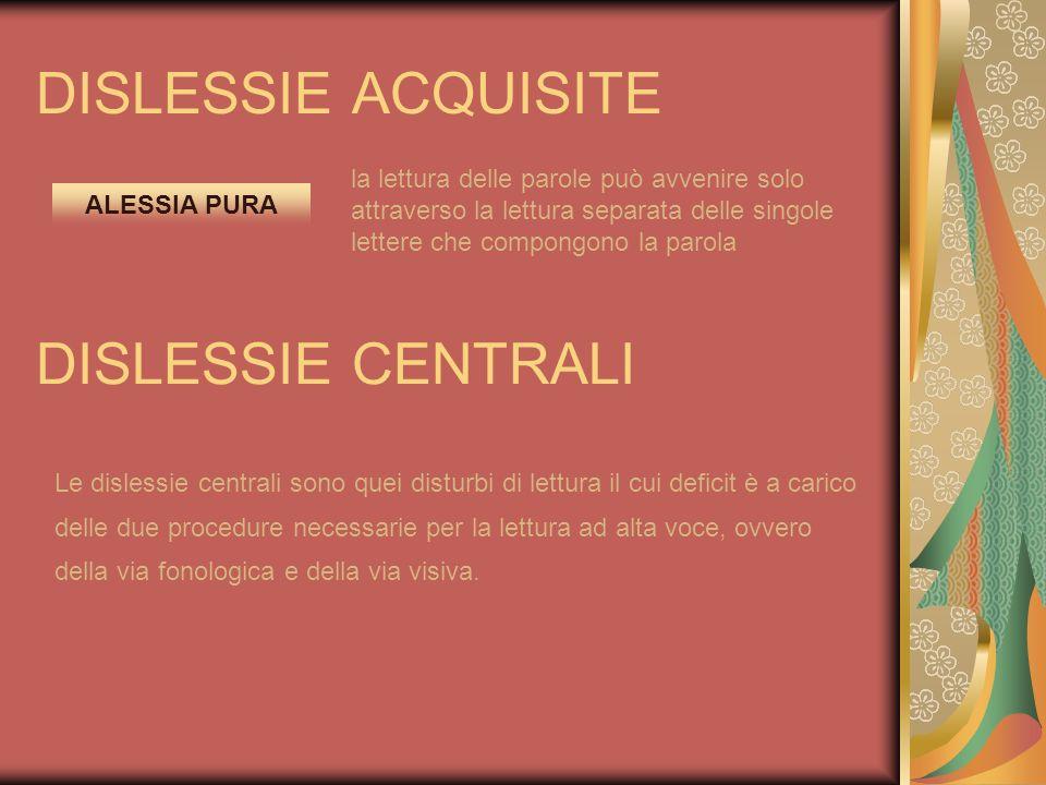 DISLESSIE ACQUISITE ALESSIA PURA la lettura delle parole può avvenire solo attraverso la lettura separata delle singole lettere che compongono la paro