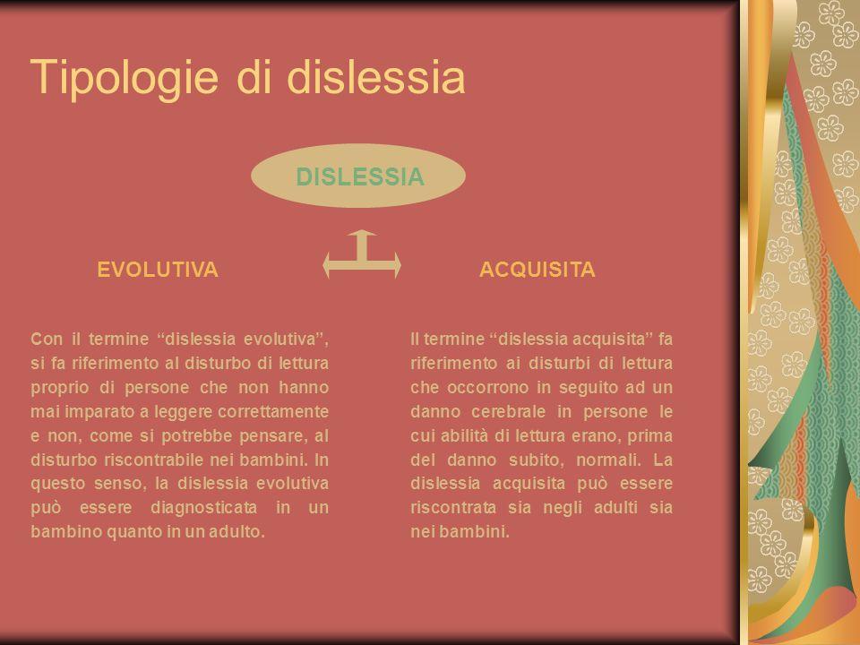 Tipologie di dislessia Il termine dislessia acquisita fa riferimento ai disturbi di lettura che occorrono in seguito ad un danno cerebrale in persone