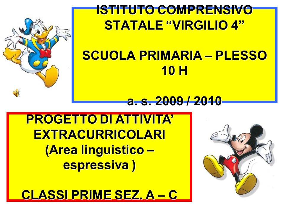 ISTITUTO COMPRENSIVO STATALE VIRGILIO 4 SCUOLA PRIMARIA – PLESSO 10 H a. s. 2009 / 2010 PROGETTO DI ATTIVITA EXTRACURRICOLARI (Area linguistico – espr