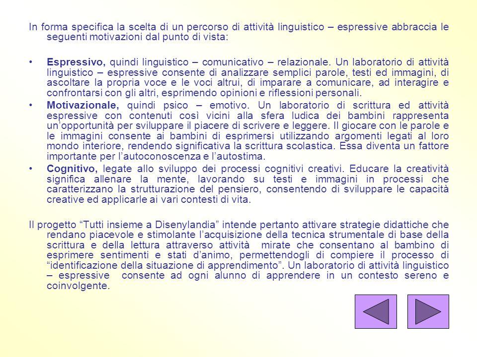 In forma specifica la scelta di un percorso di attività linguistico – espressive abbraccia le seguenti motivazioni dal punto di vista: Espressivo, qui