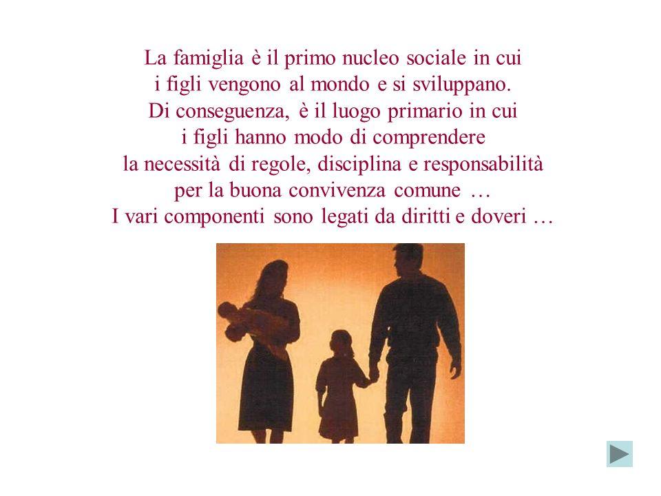La famiglia è il primo nucleo sociale in cui i figli vengono al mondo e si sviluppano. Di conseguenza, è il luogo primario in cui i figli hanno modo d