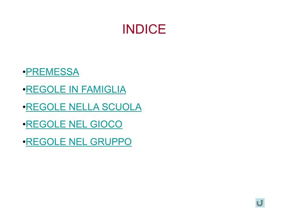 INDICE PREMESSA REGOLE IN FAMIGLIA REGOLE NELLA SCUOLA REGOLE NEL GIOCO REGOLE NEL GRUPPO