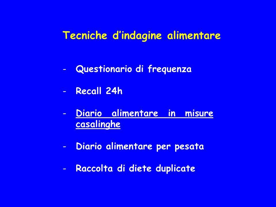Tecniche dindagine alimentare -Questionario di frequenza -Recall 24h -Diario alimentare in misure casalinghe -Diario alimentare per pesata -Raccolta di diete duplicate