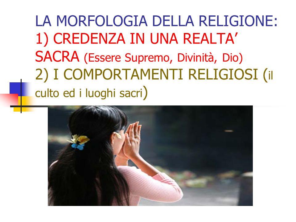 LA MORFOLOGIA DELLA RELIGIONE: 1) CREDENZA IN UNA REALTA SACRA (Essere Supremo, Divinità, Dio) 2) I COMPORTAMENTI RELIGIOSI ( il culto ed i luoghi sac