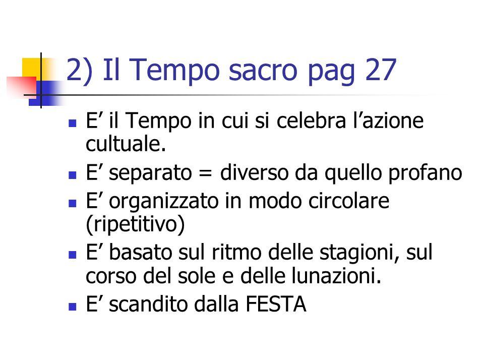 2) Il Tempo sacro pag 27 E il Tempo in cui si celebra lazione cultuale. E separato = diverso da quello profano E organizzato in modo circolare (ripeti
