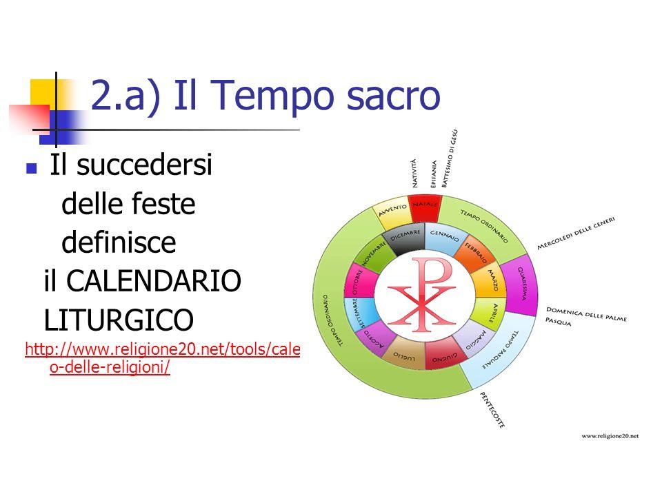 2.a) Il Tempo sacro Il succedersi delle feste definisce il CALENDARIO LITURGICO http://www.religione20.net/tools/calendari o-delle-religioni/