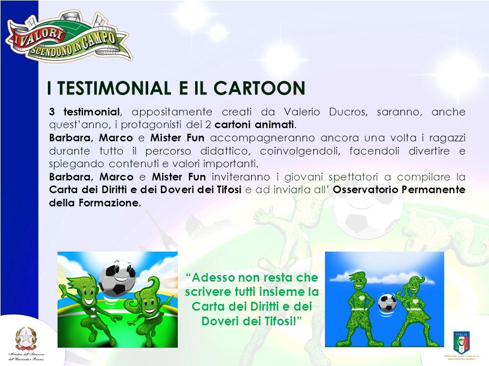 I TESTIMONIAL E IL CARTOON 3 testimonial, appositamente creati da Valerio Ducros, saranno, anche questanno, i protagonisti dei 2 cartoni animati. Barb