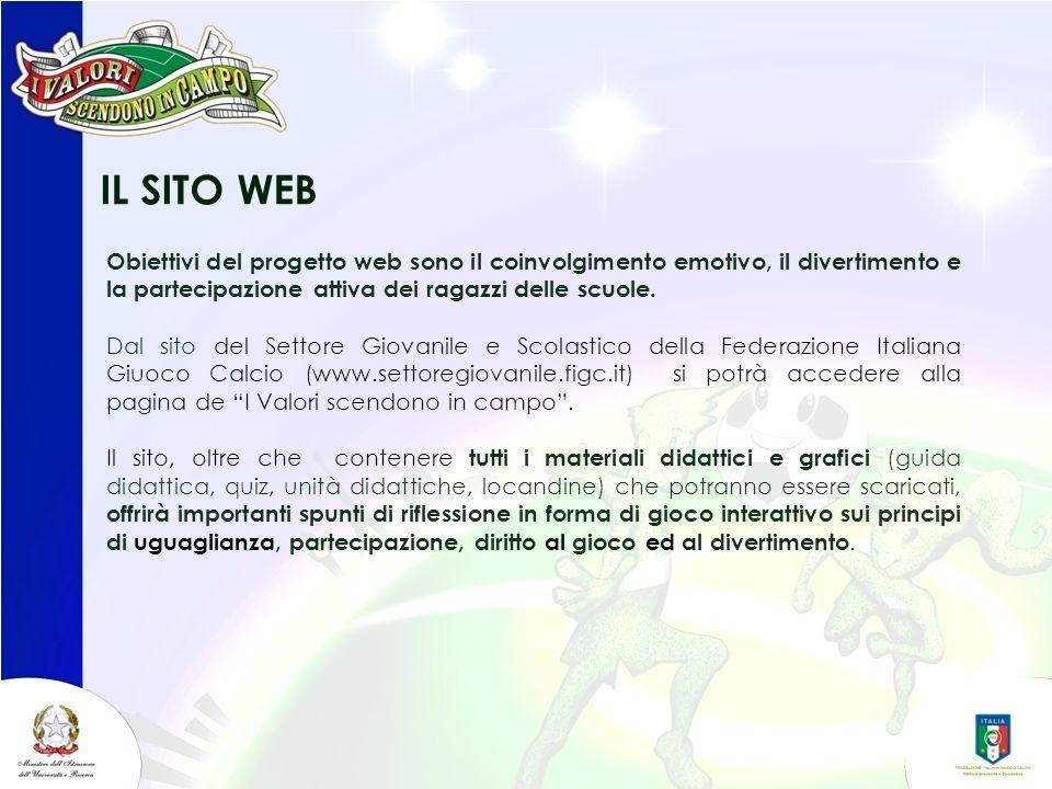 IL SITO WEB Obiettivi del progetto web sono il coinvolgimento emotivo, il divertimento e la partecipazione attiva dei ragazzi delle scuole. Dal sito d