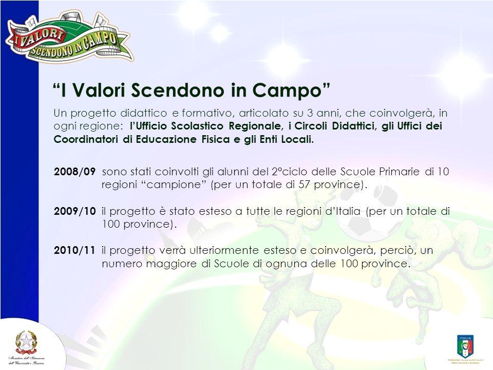 I Valori Scendono in Campo 2008/09 sono stati coinvolti gli alunni del 2°ciclo delle Scuole Primarie di 10 regioni campione (per un totale di 57 provi