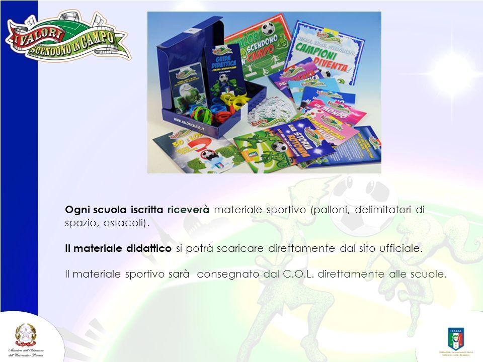 Ogni scuola iscritta riceverà materiale sportivo (palloni, delimitatori di spazio, ostacoli). Il materiale didattico si potrà scaricare direttamente d