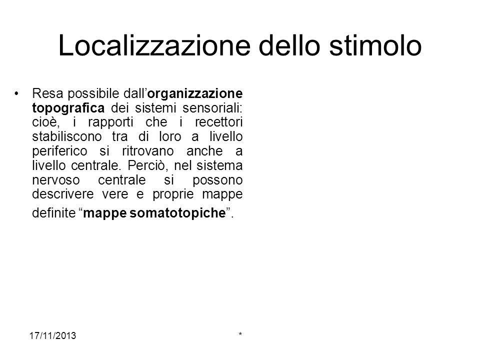 17/11/2013* Localizzazione dello stimolo Resa possibile dallorganizzazione topografica dei sistemi sensoriali: cioè, i rapporti che i recettori stabil