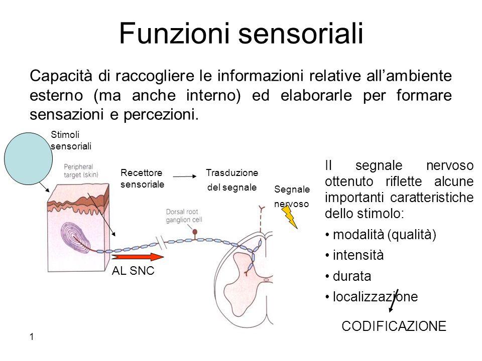 17/11/2013* Funzioni sensoriali AL SNC Trasduzione del segnale Recettore sensoriale Capacità di raccogliere le informazioni relative allambiente ester