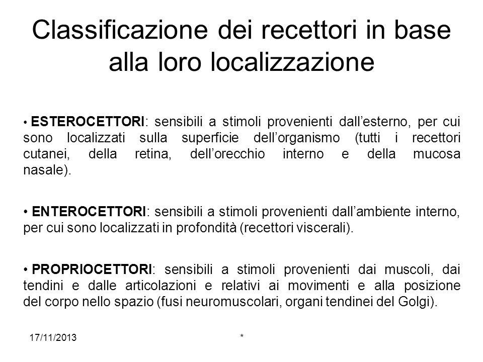 17/11/2013* Localizzazione dello stimolo Resa possibile dallorganizzazione topografica dei sistemi sensoriali: cioè, i rapporti che i recettori stabiliscono tra di loro a livello periferico si ritrovano anche a livello centrale.